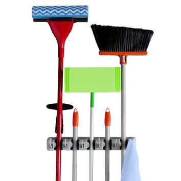 Evelots Mop & Broom Holder,5 Position W/ 6 Hooks,Garage Storage,Sports,Holds 11