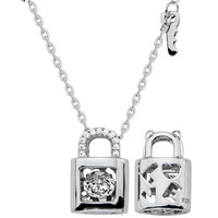 Gems In Motion Lock And Key Sterling Silver Swarovski CZ Pendant