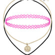 Dolphin Mood Stone and Tattoo Choker Pack - Pink