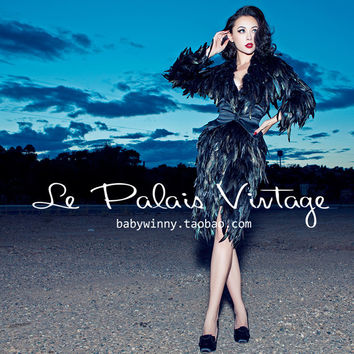 FREE SHIPPING Le Palais Vintage 2016 New Novelty Sexy V Neck Limited All Feathers Black Slim Middle Length Coat Women Clothing