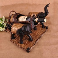 Two Elephants Pull Carts Bamboo Creative Retro Furniture Made of Solid Wood Elegant Manual Home Decorations Ornaments Wine Racks