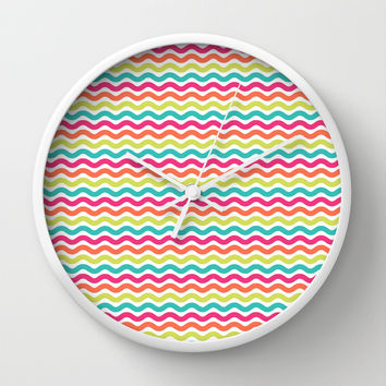 Colorful Summer Wave Pattern Wall Clock by CandyBoxDigital