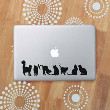 Cat Laptop Decal, Black Cat Stickers, Cat Silhouette Vinyl Decal, Cat Car Decal