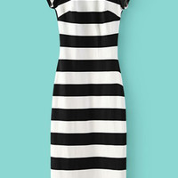 Black White Striped Short Sleeve Backless Dress | MakeMeChic.COM