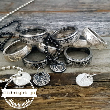 90% Silver State Quarter Coin Ring & Necklace Set