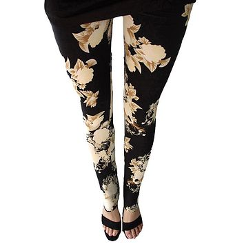 CUHAKCI New Floral patterned Printed Leggings Fashion Sexy Women Lady Slim Cotton Pants Black white Vintage graffiti trousers