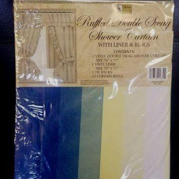"Ruffled Double Swag Printed Vinyl Shower Curtain w/ Liner and Rings 70"" x 72"""