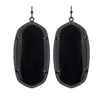 Kendra Scott Danielle Gunmetal Earrings In Black
