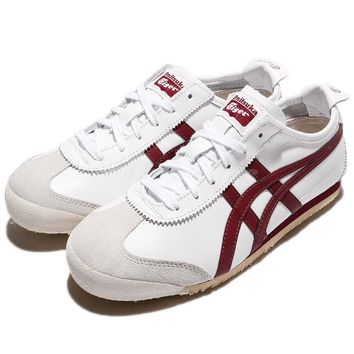 Asics Onitsuka Tiger Mexico 66 White Burgundy Men Sports Shoe Sneaker D4J2L-0125