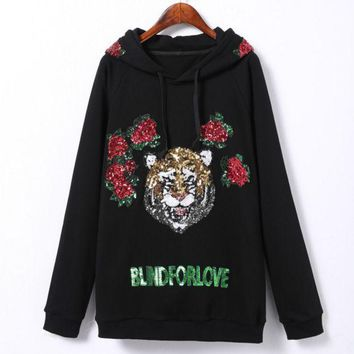 VONEB7T Gucci Fashion Casual Long Sleeve Tiger Roses Embroider Sequins Hoodie Sweater