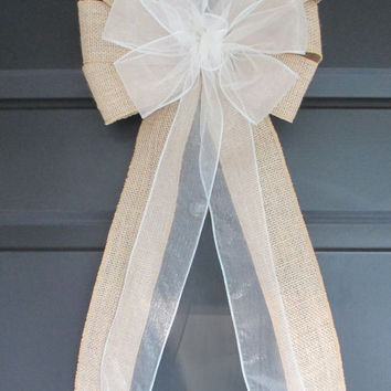 Set of 10 Ivory over Natural Burlap Bows, Wedding Decorations, Church Pew Aisle Chair, Party, Bridal Baby Shower