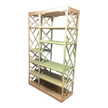 Pre-owned Vintage Bamboo & Rattan Chippendale Lattic Etagere