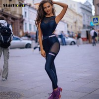 Sexy Women Mesh Gym Fitness One Piece Clothing Suit Quick Drying Elastic Fitness Tights Running Tight Jumpsuits Sports Yoga Sets