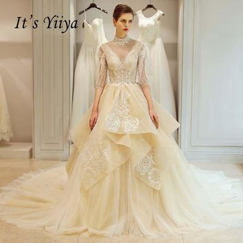 It's Yiiya New Half Sleeves Sexy Backless Train Luxury Bride Gowns Lace Trailing Wedding Dress Vestidos De Novia Casamento Y8002
