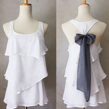 ASPEN AURA - Romantic white flowy tier blouse // smoke gray // chiffon sash bow // tunic // tank top // racerback // charcoal