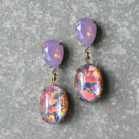 Pink Lavender Raspberry Opal Earrings Swarovski Crystal Purple Opal German Opal Glass Rhinestone Drop Earrings