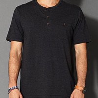 Cotton-Blend Henley Charcoal Heather