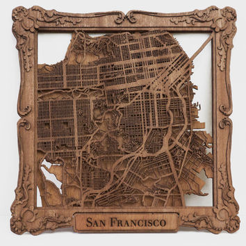 """San Francisco Laser Cut Wood Map With Scroll Frame- 10"""""""