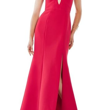 BCBGMAXAZRIA 'Madilynn' Cutout Detail Strappy Crepe A-Line Gown | Nordstrom