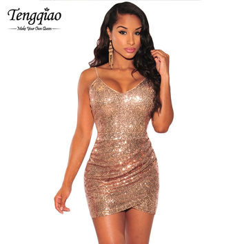 Backless  Sexy Gold Sequin Short Party Dress Sleeveless Micro Mini Bodycon Dress Deep v Neck Sexy Club Dress SM6