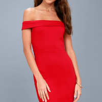 Charm and Delight Red Off-the-Shoulder Bodycon Dress