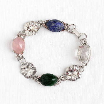 Vintage Sterling Silver Scarab Gem Egyptian Revival Bracelet - Retro 1950s Carved Beetle Bug Rose & Rock Crystal Quartz Flower Panel Jewelry