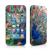 Coral Peacock Design Protective Decal Skin Sticker (High Gloss Coating) for Apple iPhone 4 / 4S 16GB 32GB 64GB