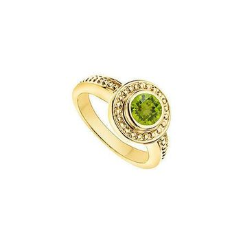 Peridot with Bead Trimmed Solitaire Ring : 14K Yellow Gold - 1.00 CT TGW