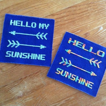 Hello Sunshine coaster Drink coaster Fabric coaster Blue coaster Embroidery coaster Cross stitch coaster Words and arrows