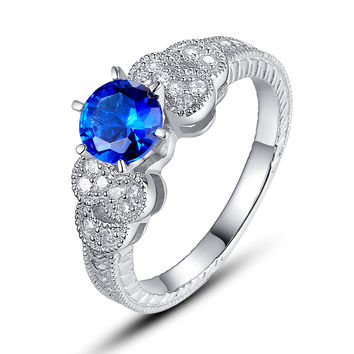 Sterling Silver Blue and Clear Cubic Zirconia Engagement Ring