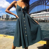 2018 Summer Women Dresses Sleevess Backless Printed Bandage Long Dress Elegant Party Women Clothes Casual Bohemian Office Dress