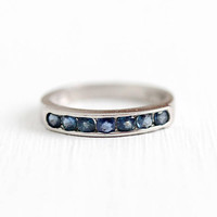 Vintage Sapphire Band - Platinum Genuine Sapphire Ring - Retro Size 5 1/4 Bridal Wedding Anniversary Seven Blue Gem .35 CTW Fine Jewelry