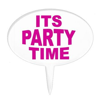 Pink Party Time Cake Topper