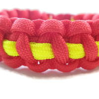 Red and Thin Yellow Stripe Paracord Survival Bracelet