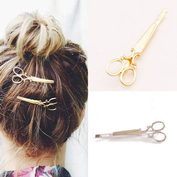 Women Gold Silver Scissors HairPins Shears Clip For Hair Tiara Barrettes Headdress Head Jewelry