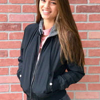 Bundling Up Bomber Jacket - Black/Grey