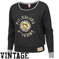 Mitchell & Ness Pittsburgh Penguins Ladies Spectator Long Sleeve T-Shirt - Black