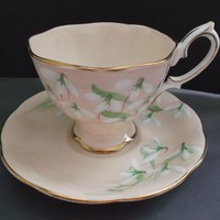 Royal Albert Laurentian Snowdrop Cup Saucer Vintage Fine Bone China