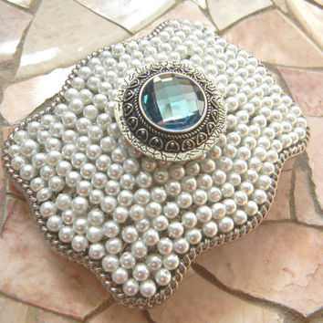 Blue Silver Concho Belt Buckle, Western Womens Southwestern Country Pearl Belt Buckle, Silver Concho Western Custom Belt Buckle