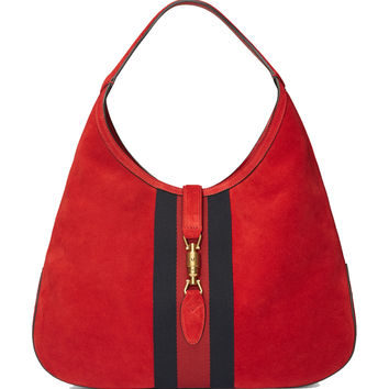Gucci Jackie Soft Suede Hobo Shoulder Bag 362968 6473 Red