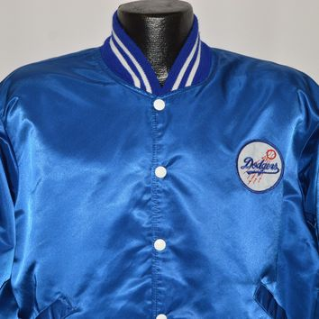 80s Los Angeles Dodgers Satin Snap Up Jacket Extra Large