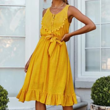 Women's new sexy hollow sleeveless strap tassel dress Yellow