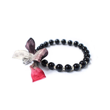 Silk bracelet, silk ribbon, Black onyx bracelet, silver plated ball, zircon, gift for women, men and kids