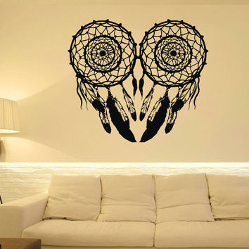 Dream Catcher Wall Decal Owl Dreamcatcher Native America Wall Decor Feathers Vinyl Graphic Home Art Mural Bedroom Dorm Living Room U003