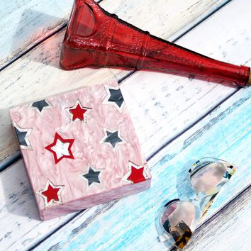 Pink Star Glitter Lucite Acrylic Clutch