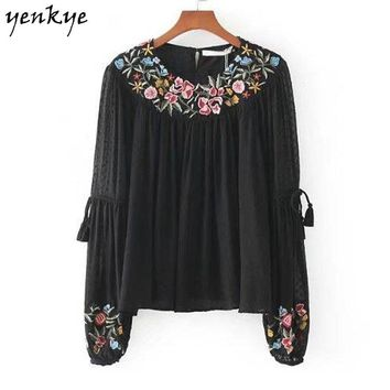 Women Floral Embroidery Blouses O Neck Long Sleeve Seersucker Frill Black Shirt Brand Autumn Tops