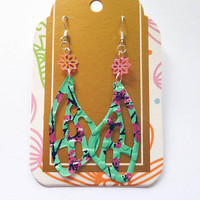 Butterfly wing earrings made from Arizona Green Tea can Upcycled jewelry  unique gift for her upcycled earrings tin can jewelry teen jewelry