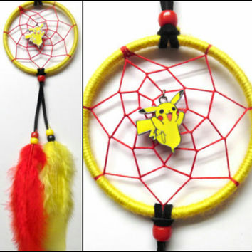 "Pokemon Pikachu dreamcatcher, small yellow 3"" ring, red web"