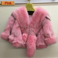 Super warm women winter 100% real fox fur jacket bat sleeve thick fox fur outerwear brand fashion fur coat customized