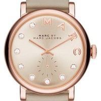 Women's MARC BY MARC JACOBS 'Baker' Crystal Index Leather Strap Watch, 36mm - Grey/ Rose Gold